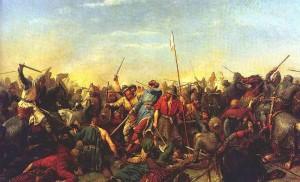 Slaget ved Stamford Bridge. Maleri av P.N. Arbo